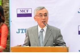 ミャンマー「eVillage」ICTセンターのオープニング式典で内海善雄理事長スピーチ